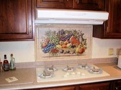 Painted Tiles For Kitchen Murals Don S Cornucopia Tile Mural Installed With Decorative Rope Border