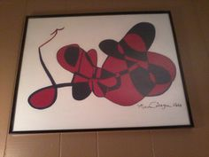 Red and Navy Abstract       16x20 Artist Board  Framed in Glass                           $59.95