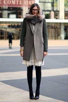 jenna lyons, winter street style, green and grey coat, fur scarf / collar, black tights, white dress #minimalist #fashion #style