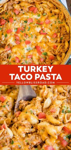 Turkey Taco Pasta is creamy and cheesy, and made a little lighter with lean ground turkey. This easy dinner is going to change the way you do Taco night! via dinner recipes for two Turkey Taco Pasta Ground Turkey Dinners, Ground Turkey Pasta, Healthy Ground Turkey, Ground Turkey Casserole, Easy Ground Turkey Recipes, Dinner With Ground Turkey, Ground Turkey Tacos, Ground Turkey And Noodles Recipe, Turkey Dinner Ideas