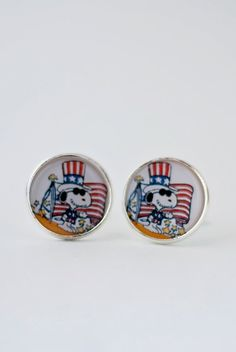 Snoopy cufflinks-Flag fourth of july4th by Funjewelry