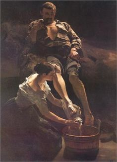 Washing of feet - Jacek Malczewski. The phenomenal lighting really gives this…