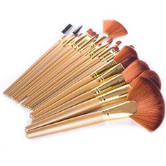 DE'LANCI Pro 21Pcs Golden Synthetic Cosmetic Foundation Blending Kabuki Makeup Brush Set Face Blush Concealer Eyeshadow Contouring Make Up Brushes Kit Tools with Leather Brush Bag >>> Click on the image for additional details.