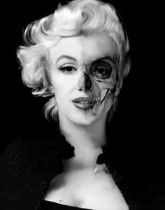 Dead Celebrities Series Half Skull. Art Print