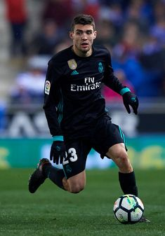 BARCELONA, SPAIN - FEBRUARY Mateo Kovacic of Real Madrid runs with the ball during the La Liga match between Espanyol and Real Madrid at Estadio de Cornella-El Prat on February 2018 in Barcelona, Spain. (Photo by Quality Sport Images/Getty Images) Chelsea Fc Wallpaper, Sports Images, Nike Football, Barcelona Spain, Real Madrid, February, Baseball Cards, Running, The League