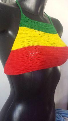 Crochet Halter Tops, Crochet Bikini, Crochet Top, Boho Crochet, Crotchet, Bob Marley, Jamaica Outfits, Dread Wraps, Clueless Outfits
