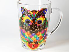 Owl Coffee Mug Hand Painted Colorful Mug by StainedGlassHandmade