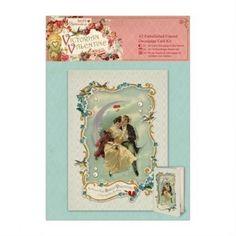 A5 Embellished Framed Decoupage Card Kit - Victorian Valentine