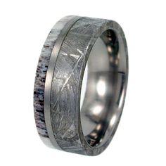 Meteorite Ring Antler Ring Gibeon Meteorite Deer Antler on