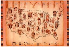 Native American Tribes Map Art Print Poster - 19x13