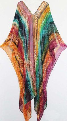 Rainbow Stripe Full Length Pure Silk Chiffon Kaftan by LaMolli 30s Fashion, African Fashion, Boho Fashion, Womens Fashion, Dress Fashion, Estilo Hippie, Hippie Chic, Boho Chic, Mode Kimono