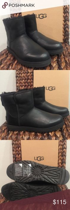 """UGG Cory Black Leather Boots The Cory features a slimmer silhouette, premium materials, and expert craftsmanship. Pretreated to repel water and stains, this versatile boot also features added arch support and our innovative lightweight outsole for improved traction, cushioning, and durability.  Pretreated Twinface and suede Sheepskin lining UGGpure™ wool insole Added arch support Treadlite by UGG™ Approx 5.5"""" shaft height UGG Shoes Ankle Boots & Booties"""