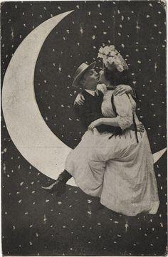 Kissing on the Moon - Printed Postcard 1909 Front ~ Ephemera