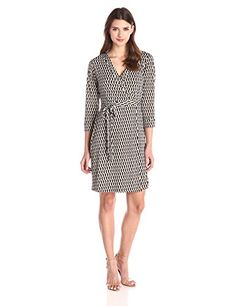 laundry BY SHELLI SEGAL Women's Chain Glam' Matte Jersey Wrap Dress, Black, X-Small. Elbow-sleeve wrap dress featuring V-neckline, surplice bodice, and self-belt.