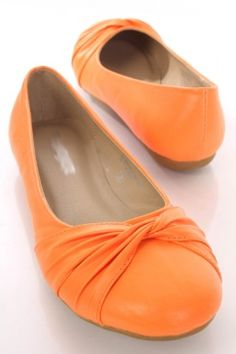 Neon Orange Faux Leather Knotted Front Closed Toe Flats
