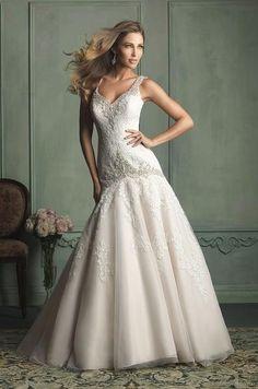 Wedding dress Allure 9127 V-neck Mermaid Sleeveless Straps Long Train $299.99 Wedding Dresses 2014