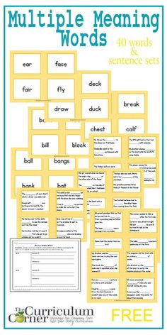 Multiple Meaning Words Literacy Center | FREE | The Curriculum Corner | Test Prep | Vocabulary