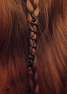 Jörmungandr Hair Bead  Jormungand  Snake hair bead by LoitsuCrafts