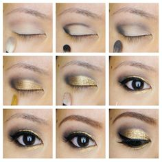 Glitter holiday eye makeup