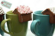 diy tiny gingerbread houses on mugs