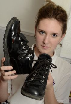 Olivia Adams, pictured, said a teacher cut off the tags to her Kickers shoes while she was still wearing them. Despite being offered £55 by ...