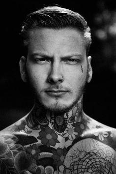 #tattoo #man #neck #black