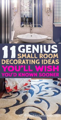 GREAT tips for decorating a small room on a budget. I love the storage and layout ideas that will make my small living room look bigger. #SmallLivingRoomIdeas #SmallRoomLookBigger #SmallRoomIdeas #DecoratingTipsForHome