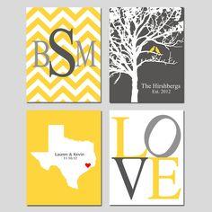 Family Love - Set of Four 8x10 Customizable Prints - Love, Family Established Tree, Love State Map, Chevron Monogram - GREAT WEDDING GIFT. $69.50, via Etsy.