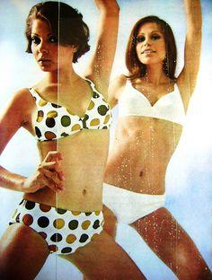 Brazilian Magazine: Claudia 1968. Vintage Outfits, Vintage Fashion, Vintage Clothing, Sixties Fashion, Beatnik, Beach Bunny, Bathing Beauties, Resort Wear, Swimsuits