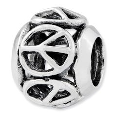 Sterling Silver Reflections Peace Sign Bead