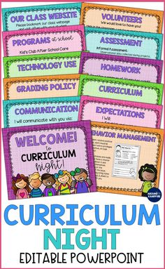 An easy and effective way to present important information to parents on Back to School Night or Curriculum Night open house. Ideal for and grade classroom management. Teaching Rules, Teaching Ideas, Family Math Night, Parent Night, Meet The Teacher Template, Curriculum Night, After School Care, Get To Know You Activities, Back To School Night
