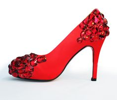Hand sewed princess crystal shoes