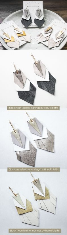 Statement leather earring by Haru Palette >>> Black Swan Leather Earrings, White Swan Leather Earrings, Platinum Leather Earrings