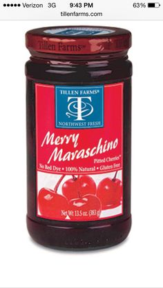 Maraschino Cherries by Tillen Farms (red dye free)