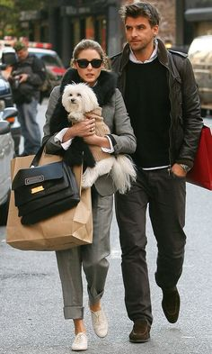 Menswear - Hey, a male non-waif modelling! Incroyable! His lady friend has a little dog...such devotion.