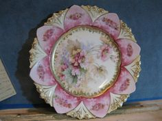 R S Prussia Floral Plate Pink Old Fashioned Roses Gold Trim