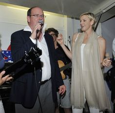 Prince Albert and Charlene celebrate Independence Day at an American bar in Monaco 7/4/2013