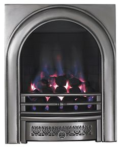 Focal Point Arch Chrome effect Gas Fire | DIY at B&Q Home Fireplace, Fireplaces, Fireplace Ideas, Fire Surround, 1930s House, Real Fire, Types Of Beds, Gas Fires, Fire Department