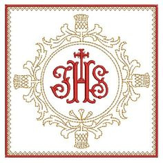 Christian Symbols machine embroidery designs for hoop Embroidery Alphabet, Machine Embroidery Applique, Gold Embroidery, Christmas Embroidery, Embroidery Patterns, Cross Stitch Patterns, Square Wreath, Christian Symbols, Church Banners