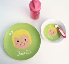 Best baby/first birthday gift idea! CUSTOM MELAMINE PLATE AND BOWL SET  GIRL OR BOY BY OLLIEGRAPHIC, $42.00
