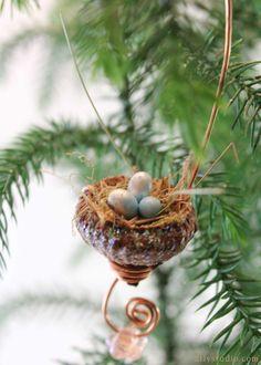 Miniature fairy garden acorn bird's nest with beads by Woodland Fairy Gardens on Etsy #fairy #gardening