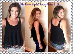 Ella Moss Brigitte Eyelet Tank: •Breezy, warm weather top •Versatile in black •Overlay with circle cutout detail •Scoop neckline •Sleeveless •Cropped hem •Low back detail  available size xs-m