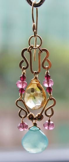 Chandelier Candy Coloured Earrings with Golden by LeahYardDesigns