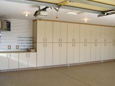 garage storage, garage organization, custom cabinets, epoxy, slotwall via www. - Ikea DIY - The best IKEA hacks all in one place Garage Wall Cabinets, Garage Storage Cabinets, Diy Cabinets, Garage Organization, Custom Cabinets, Organization Ideas, Garage Shed, Garage Workshop, Workshop Ideas