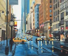 Buy New York Rain II, a Acrylic on Canvas by Angela Wakefield from United Kingdom. It portrays: Architecture, relevant to: reflections, Cityscape, new york, manhattan, urban landscape This original is one of the major works from her New York Series