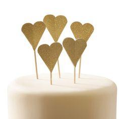 Gold Glitter Heart Cake Topper, Heart Cake Topper for Birthday, Wedding, Celebration Cakes and Cupcakes, Gold Glitter Cake Topper