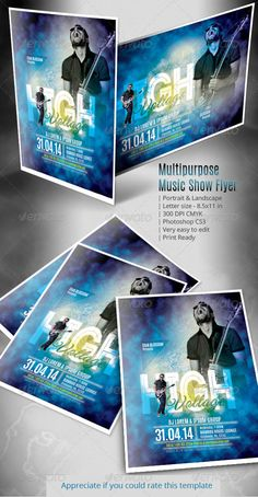 Multipurpose Music Show Flyer — Photoshop PSD #rockstar #jazz • Available here → https://graphicriver.net/item/multipurpose-music-show-flyer/7297422?ref=pxcr
