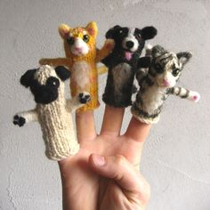 NobleKnits Yarn Shop - Peace Fleece Cats and Dogs Finger Puppet Knitting Kits, . Knitting Kits, Knitting Projects, Baby Knitting, Knitting Patterns, Crochet Patterns, Knitting Designs, Crochet Ideas, Glove Puppets, Hand Puppets