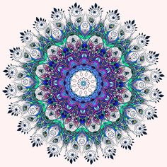 Mandala peacock kaleidoscope, india Art Print by An Vino | Society6