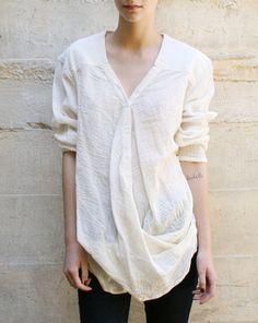 Alexander Yamaguchi : Overlap Shirt In White